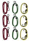 (Set of 9) Rubber Bungee Stretch Cord Assortment Set/Stretchable String/3-18'' Yellow, 3-24'' Green, 3-36'' Red