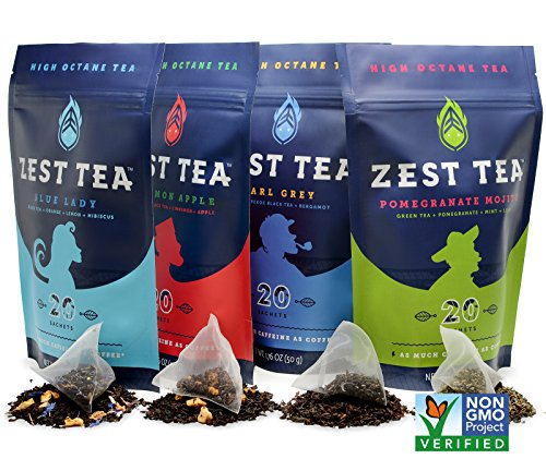 Blue Lady Black Energy Tea - High Caffeine Blend (3X Regular) - Healthy Coffee Substitute, Citrus and Hibiscus Flavor, 20 Sachet Package (50 Grams) by Zest Tea (Image #7)