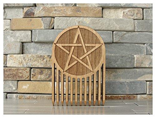 Pentacle Symbol Wood Beard Comb by L.I.M. Lazer