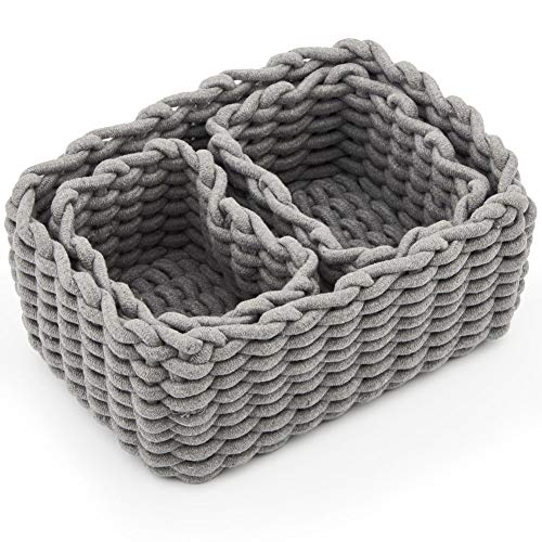 EZOWare Set of 3 Decorative Woven Cotton Rope Baskets and Storage Organizer, Perfect for Storing Small Household Items (Gray)