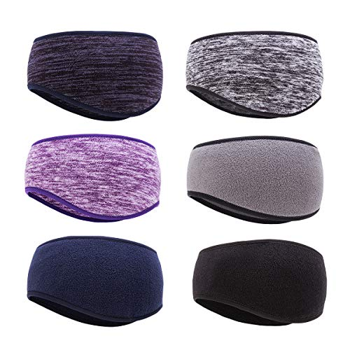 6 Pairs Ear Warmer Headband Fleece Thermal Winter Headbands Ear Muffs Warmers for Men & Women Running Yoga Skiing Cycling and Work Out in Cold and Freezing Days (Ear Warmer Women Headband)