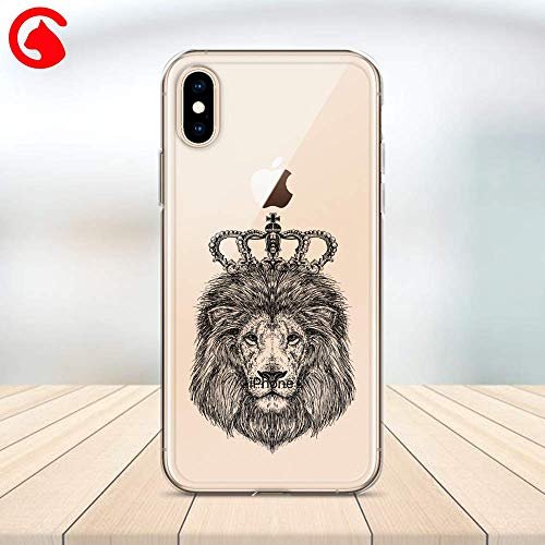 (CatixCases Lion King Head Crown Hand Drawn Transparent Case Cell Phone Plastic Сlear Case for Apple iPhone X/XS/XR/XS Max / 7/8 / plus iPhone 6 / 6S plus Protector Protective Cover Art Design)