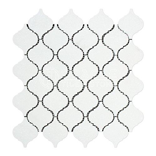 Thassos White Greek Marble Lantern Arabesque Mosaic Tile, Polished -