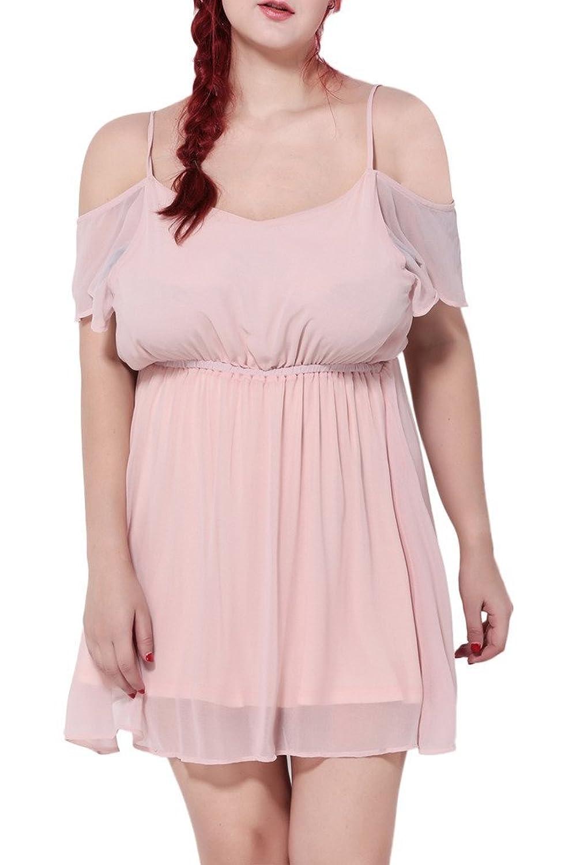 Smile YKK Plus Size Women's Chiffon Off Shoulder Sexy Beach Party Mini Dress