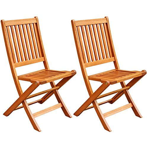 LuuNguyen Win Outdoor Hardwood Folding Chair Natural Wood Finish , Set of 2