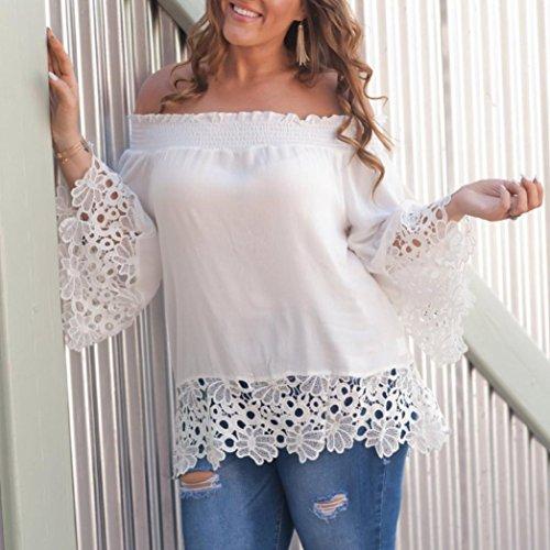 Casual Haut Blouse Appeal LUCKYCAT Femmes Curve Courte T Lace Casual Ete Splicing Veste Manche Chic Blanc Blouse Shirt 5wUvqR67w