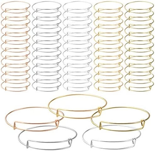 60 Pcs Expandable Bangle Bracelets Adjustable Wire Blank Bracelets, Topbuti Expandable Metal Bracelets Bangles for Women DIY Jewelry Making Christmas Thanksgiving Day New Year Gift