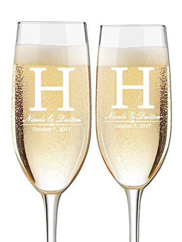 (Custom Wedding Champagne Flutes- Set of 2 -Bride and Groom First Names, Last Name Initial Monogram and Wedding Date - Personalized for Bride and Groom - Customized Engraved Wedding Gift)