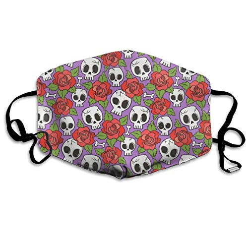 Skulls and Roses Red On Purple Mask Mouth