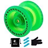 MAGICYOYO Responsive YoYo K1 Plus Glow in The Dark Green Yoyo Yoyo Sack + 3 Strings +Yo-Yo Glove Gift