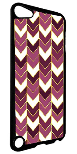 Purple Gilded Print Chevrons- TM Apple iPod 5 Universal Black Plastic Case Made in the USA