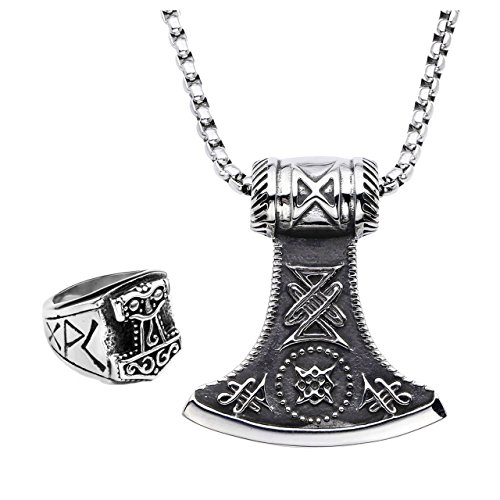 PiercingJ Men's Stainless Steel Viking Thor's Hammer Celtic Knot All Seeing Eye Pendant Necklace Ring 24 inch Chain