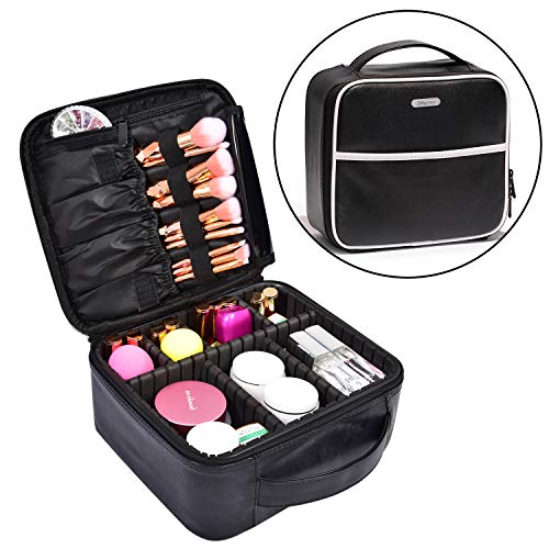 Leather Organizer - PU Travel Train Case with Compartments and Dividers Portable Travel Make Up Storge Mini Size for Girl and Women ()