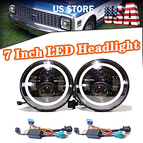 "2Pcs DOT 7"" Round Led Headlights with White DRL and Amber Turn Signal Round High Low Sealed Beam Conversion Kit with Decoder Canbus & Harness Wires For Chevy GMC Pickup 1947-1957 - Warranty 3 Years"