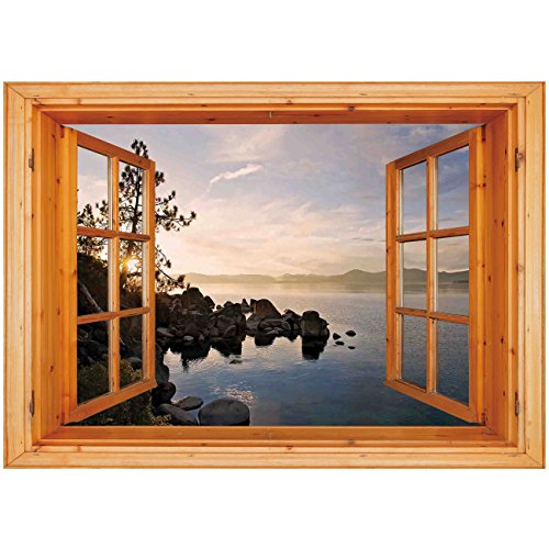 nyl Wall Decal Sticker [ Lake,Lake Tahoe at Sunset with Clear Sky and Single Pine Tree Rest Peaceful Weekend Photo,Blue Grey ] Window Frame Style Home Decor Art Removable Wall Stic ()