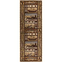 Lodge Retreat Novelty Lodge Pattern Beige Runner Rug, 2.7 x 7