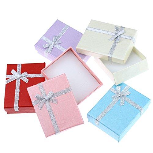 Parure collier et boucles d'oreilles à tige Lucky Angel, plaqué or blanc 18K avec cristaux autrichiens et boîte cadeau Bleu