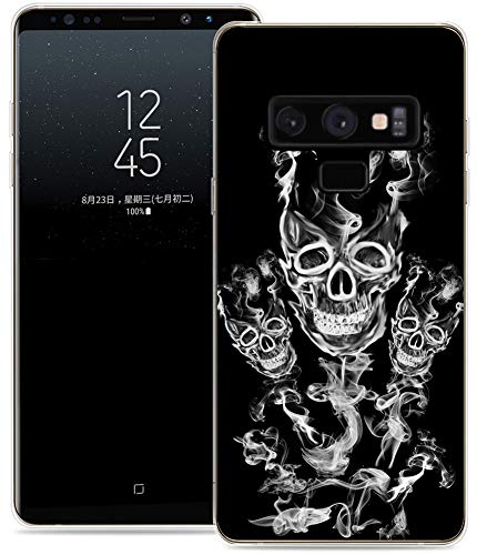 otective Durable TPU Rubber Fashion Designer Cover Skin Compatible for Samsung Note 9 for Galaxy Note9 + Cool Skull Smoke Design ()