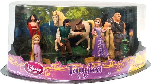 7 Piece Pvc Figure (Disney Tangled Exclusive 7 Piece Deluxe Mini PVC Figurine Set Rapunzel, Flynn, Maximus, Toddler,Rapunzel, Mother Gothel, Hookhand Thug Pascal)