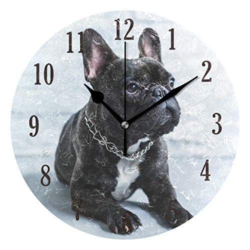 (Ralally Round Wall Clock, French Bulldog Silent Decorative Round Wooden Clock - 12 Inch )