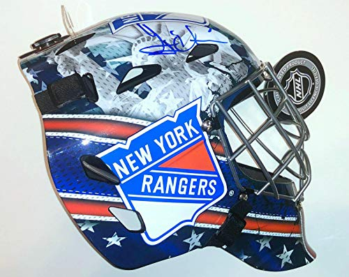 Henrik Lundqvist Signed Full Sized Ny Rangers Shield Logo Goalie Nhl Hockey Mask - Autographed NHL Helmets and -