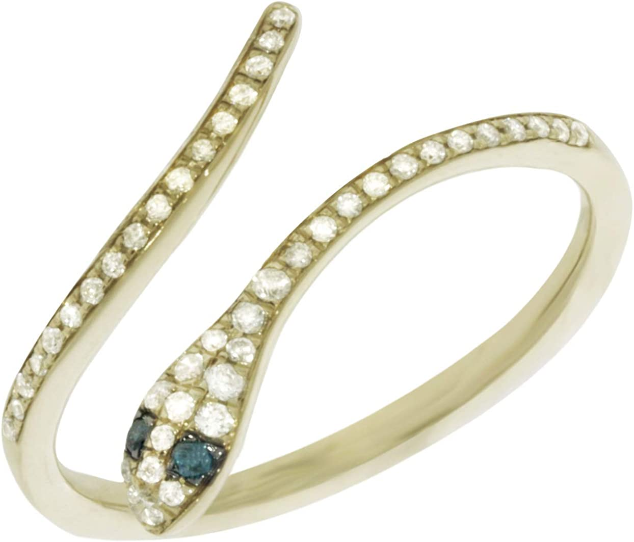 925 Sterling Silver Star Shape Ring Goldenstar 0.17Ct.White and Blue Diamond Ring