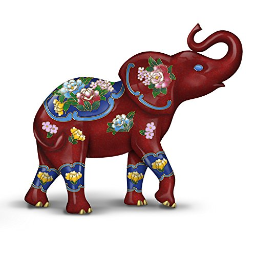 The Hamilton Collection Elephant Figurine with Hand Painted Floral Designs with the Look of Cloisonne