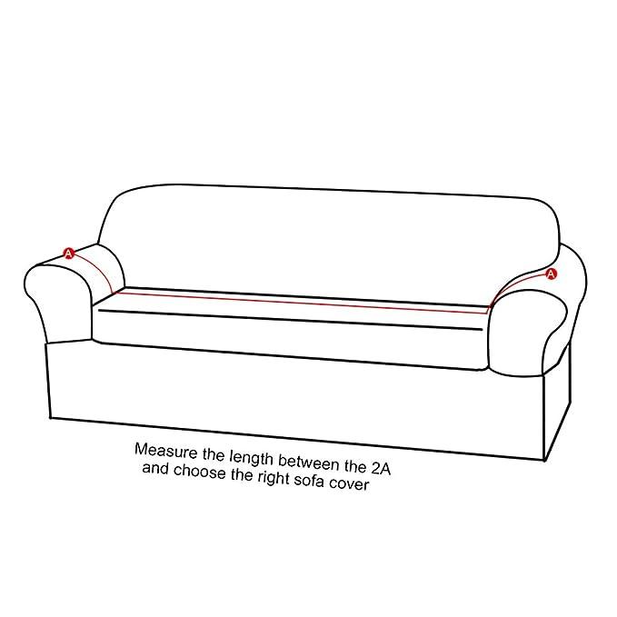 Iraza Funda Elástica para Sofá Ajustable,Apta para Muchos sofás Normales de 1 Plaza,2 Plazas,3 Plazas Desde 90 a 230 cm (Blanco, 3 Asientos)