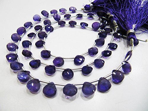 AAA Quality Natural African Amethyst Briolette Heart Shape Beads / approximately 8 mm Genuine Amethyst Gemstone Beads / Strand 8 inch long.