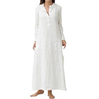 237f542274b OHQ Robes🍒🎀Robe Longue à Manches Longues en Coton pour Femmes Bleu Blanc  Kaftan