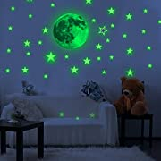 Toeoe 30cm Glow in the Dark Moon Wall Sticker Decorative Removable Night Decal, Luminous Stars Skin Wall Stickers Gifts for Kids Bedroom Living room Children's Room Ceiling Nursery Room - Moon Stars