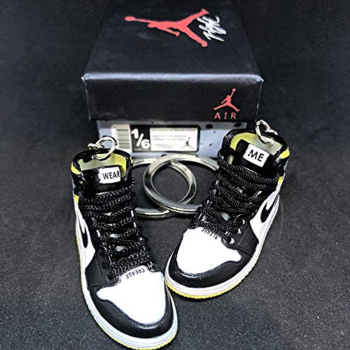 Pair Air Jordan 1 I High Retro NRG Not For Resale Yellow OG Sneakers Shoes 3D Keychain Figure with Shoe Box (Jordan 1 Retro High Gold Top 3)