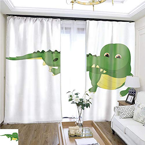 (Structured Curtain Crocodile cartoon1 W96 x L120 Children's Room Loop top Curtain Highprecision Curtains for bedrooms Living Rooms Kitchens etc.)