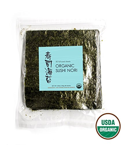 Price comparison product image Organic Sushi Nori Premium Roasted Seaweed with FREE 9inx 9in bamboo mat,  4.94 oz (50 Sheets) (50 Sheets with 1 Bamboo Mat)