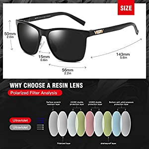 DUCO Unisex Metal Square Polarised Sunglasses with UV400 Protection for Outdoor Sports 3029H