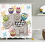 Ambesonne Cartoon Decor Shower Curtain Set by, Cute Cartoon Elephant and Owls On A Floral Background Animal Love Big Eyes Boys Girls Decor, Bathroom Accessories, 75 Inches Long, Multi