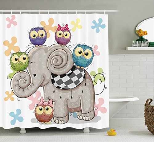 Cartoon Decor Shower Curtain Set By Ambesonne, Cute Cartoon Elephant And Owls On A Floral Background Animal Love Big Eyes Boys Girls Decor, Bathroom Accessories, 69W X 70L Inches, Multi (Shower Curtain Love compare prices)