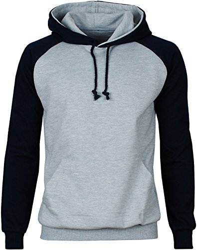 Angel Cola Men's Cotton Raglan Hoodie String Pullover Sweatshirt Gray / Blue M