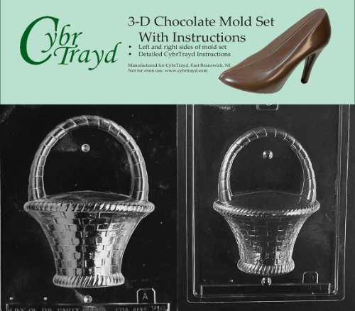 Cybrtrayd E218AB Chocolate Candy Mold, Includes 3D Chocolate Molds Instructions and 2-Mold Kit, Large Basket with Handle