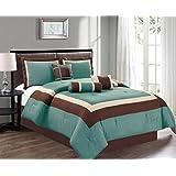 "7 Piece QUEEN Size LIGHT SILVER BLUE / BROWN / BEIGE Color Block MILAN Goose Down Alternative Comforter set 90"" X 90"" Bedding + Accent Pillows"