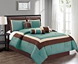 King Size Comforter Sets with Matching Curtains 7 Piece KING Size LIGHT SILVER BLUE / BROWN / BEIGE Color Block MILAN Goose Down Alternative Comforter set 104