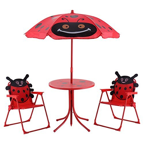 COSTWAY Kids Patio Folding Table and Chairs Set Beetle with Umbrella