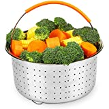 Instant Pot Accessories 6 or 8 qt Steamer Basket, Aiduy Stainless Steel Strainer Steamer Insert Vegetable Steamer Basket Egg Rack Stand with Premium Silicone Handle for Pressure Cooker and Pots