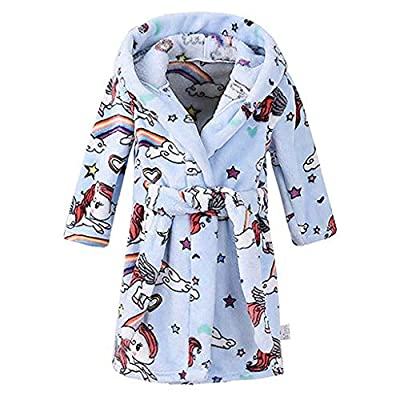 NUWFOR Unisex Children's Baby Print Flannel Bathrobes Hoodie Towel Pajamas Night Gown White