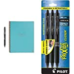 Rocketbook Everlast - Letter - Light Blue, 1 Pilot FriXion Clicker Retractable Erasable Gel Pens, Fine Point, Black Ink...