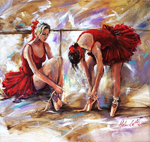 YEESAM ART DIY Paint by Numbers for Adults Beginner Kids, Ballet Dancer Red Dress Girl 16x20 inch Linen Canvas Acrylic Stress Less Number Painting Gifts (Ballet, Without -