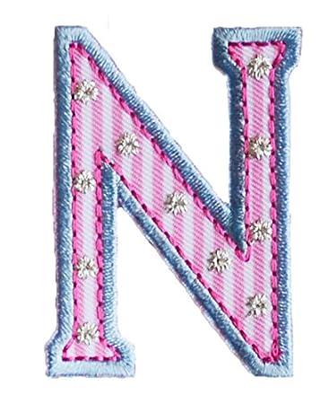 N 9cm ABC rosa blau Geschenk Stoff Patch Namen Buchstaben zum ...