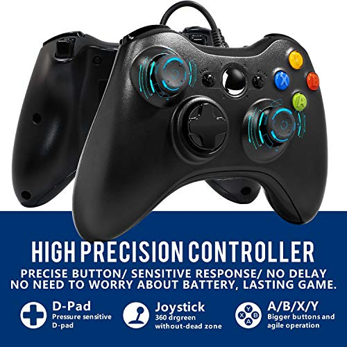 Medvoe Wired Controller for Xbox 360, 7.2 Ft USB Wired Gamepad Joystick Game Remote with Dual-Vibration Turbo, Trigger Buttons for Xbox360, Xbox 360 Slim and PC Windows 7,8,10 - Black