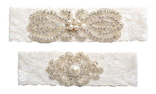 Wishprom Rhinestones Lace Wedding Bridal Garter Belt Set, Ivory (Wedding Garder)