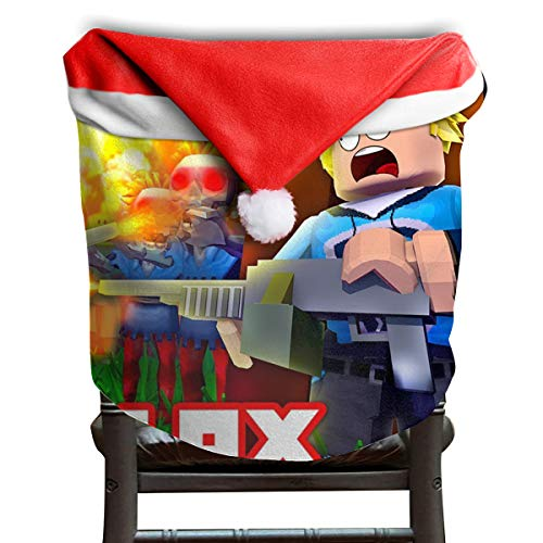 Price comparison product image MCWO GRAY Ro-blox Battle Christmas Chair Back Covers Dining Room Classic Santa Claus Hat Chair Slipcovers Party Holiday Decor